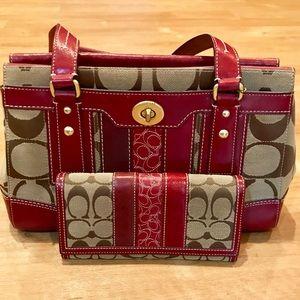 Coach Burgundy Red & Brown Medium Handbag & Wallet